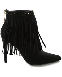 Balmain Fringed Suede Ankle Boots - Black