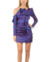 Self-Portrait Printed Ruffle Mini Dress - Blue