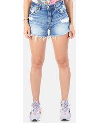 Blue & Cream Moussy Sunnyvale Shorts - Blue
