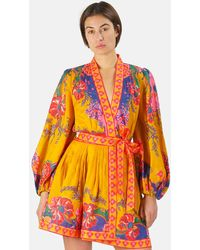 Zimmermann Lovestruck Wrap Mini Dress - Metallic
