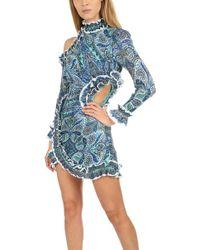 Zimmermann High-neck Long-sleeved Cut-out Detail Mini Dress - Blue