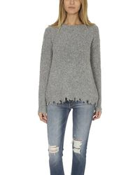 ATM Alpaca Crew Neck With Destroyed Hem Heather Grey - Gray