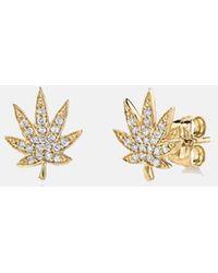 Sydney Evan Pave Diamond Pot Leaf Stud Earrings - Metallic
