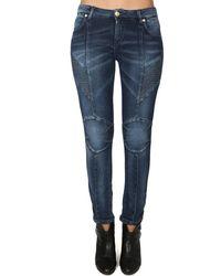 Balmain Stretch Moto Jeans - Blue