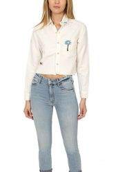 Mother Frenchie Crop Fray Shirt - White