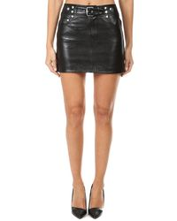 RE/DONE The Leather Buckle Skirt - Black