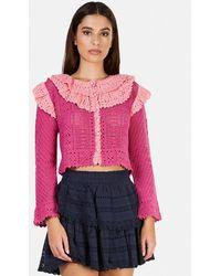 LoveShackFancy Seraphine Cardigan Sweater - Pink