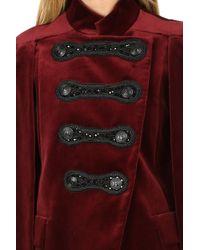Balmain Embellished Velvet Cape Burgundy - Red