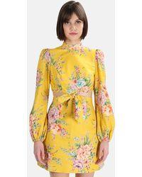 Zimmermann Zinnia Bow Cut Out Short Dress - Yellow
