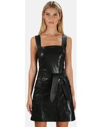 Nanushka Charo Vegan Leather Pinafore Dress - Black