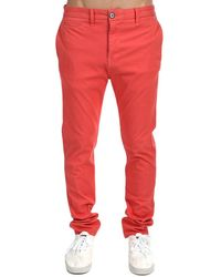 Kato French Terry Slim Chino Trousers - Red