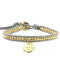 Chan Luu Gold Bead On Coconut Leather Bracelet With Love Charm Pendant - Metallic
