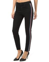 Mother High Waisted Looker Ankle Fray Jeans - Black