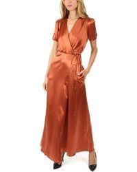 Saloni Lea Silk Wrap Dress - Orange
