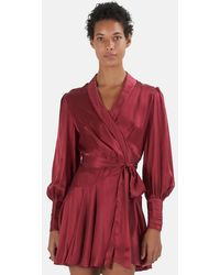 Zimmermann Wrap-over Silk Mini Dress - Red