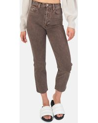 RE/DONE 70s Ultra High Rise Stove Pipe Pants - Brown