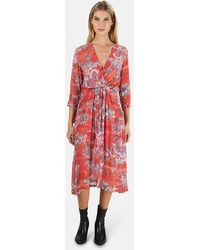 IRO Gramy Printed 3/4-sleeve Midi Dress - Red