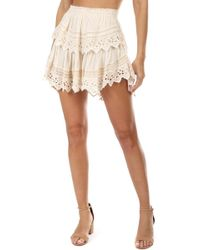 LOVESHACKFANCY Women/'s Red Multi Tiered Ruffle Mini Skirt $245 NWT