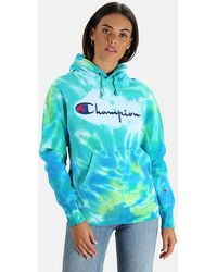 Champion X Blue&cream Hoodie Large Logo Tie Dye