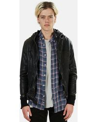 Giorgio Brato Leather Hooded Bomber Jacket - Black