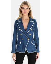 L'Agence Kaydence Double-breasted Frayed Denim Blazer - Blue