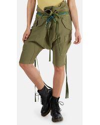 R13 Rolled Waist Cargo Shorts - Green