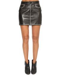 FRAME - Studded Mini Skirt Noir - Lyst