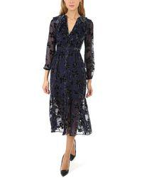 Saloni Ginny Floral Midi Dress - Blue