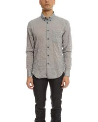 Naked & Famous - Crinkle Horizontal Stripes Slim Shirt - Lyst