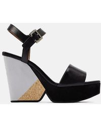 Clergerie Pearl Wedge Sandals Shoes - Black