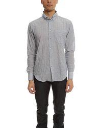 Naked & Famous Regular Shirt Lightweight Hairline Stripes - Grey