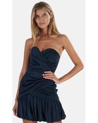 Zimmermann Strapless Draped Mini Dress - Blue