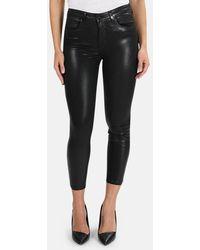 L'Agence Margot Coated Skinny Jeans - Black