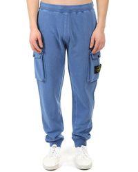 Stone Island Fleece Cargo Trousers - Blue