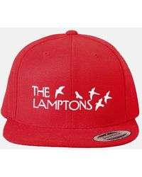 Blue & Cream Lamptons Snapback Hat - Red