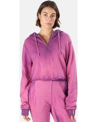 Cotton Citizen Brooklyn Crop Zip Hoodie Jumper - Purple