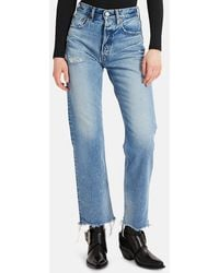 Moussy Lomita Wide Straight Jeans - Blue