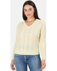 Minnie Rose Cable Frayed V Neck Jumper - Yellow