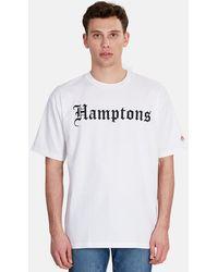 Blue & Cream Hamptons Graphic T-shirt - White