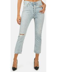 Agolde Riley High Rise Crop Jeans - Blue