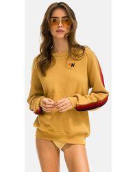 Aviator Nation Classic Sweatshirt Velvet 5 Stripe Jumper - Multicolour