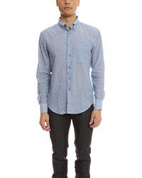Naked & Famous Regular Shirt Lightweight Pencil Stripes - Blue