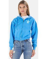 Blue & Cream Windmill Crop Hoodie Jumper - Blue