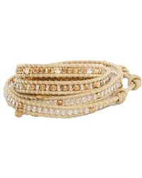 Chan Luu - Quartz And Gold Beads On Natural Leather Wrap - Lyst
