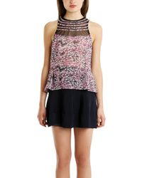 Charlotte Ronson - Floral Mesh Top - Lyst