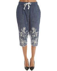Sea Hand Stitched Cropped Trousers - Blue