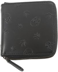 Lucien Pellat Finet Skull Studs Small Zip Wallet - Black
