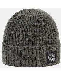 Stone Island Ribbed Wool Beanie Cap - Grey