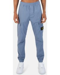 Stone Island Garment Dyed Cotton Cargo Pants - Blue