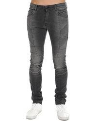 Balmain Ribbed Moto Jean Grey - Gray